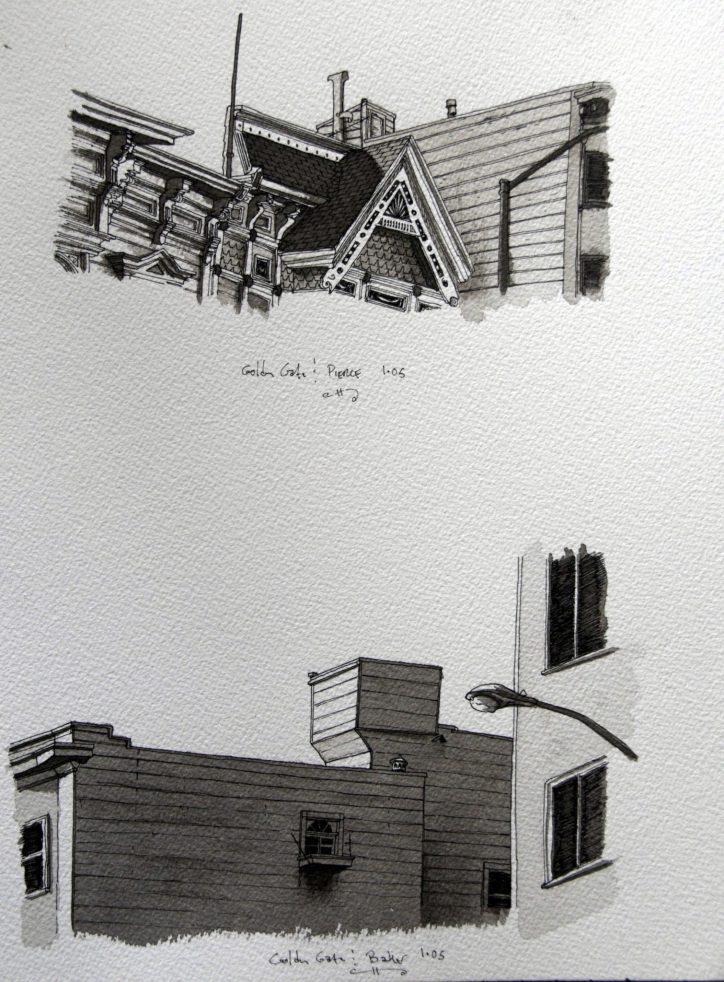 Détail architectural de maison victorienne à San Francisco (4)