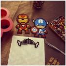 Captain america et Iron man en perles à repasser