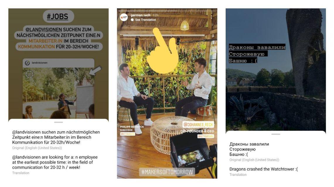 translate story instagram