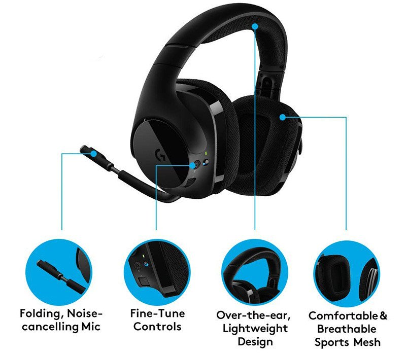 logitech g533 casque gaming sans fil son surround dts 7.1