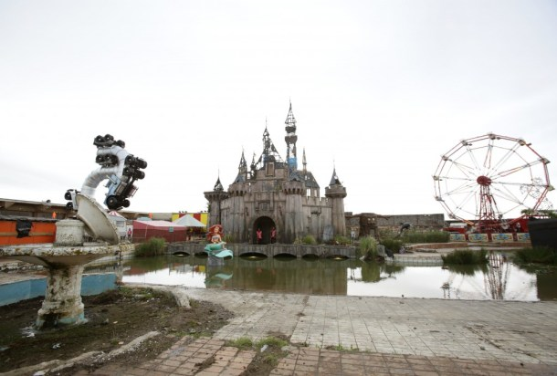 A fairytale castle which forms part of Dismaland - Bemusement Park, Banksy's biggest show to date, in Western-super-Mare, Somerset.