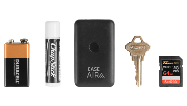 Case Air next to ChapStick, Battery, etc.