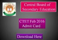 CTET Feb 2016 Admit Card Download