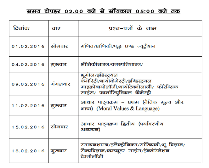 Jiwaji University B.Sc Time Table 2016