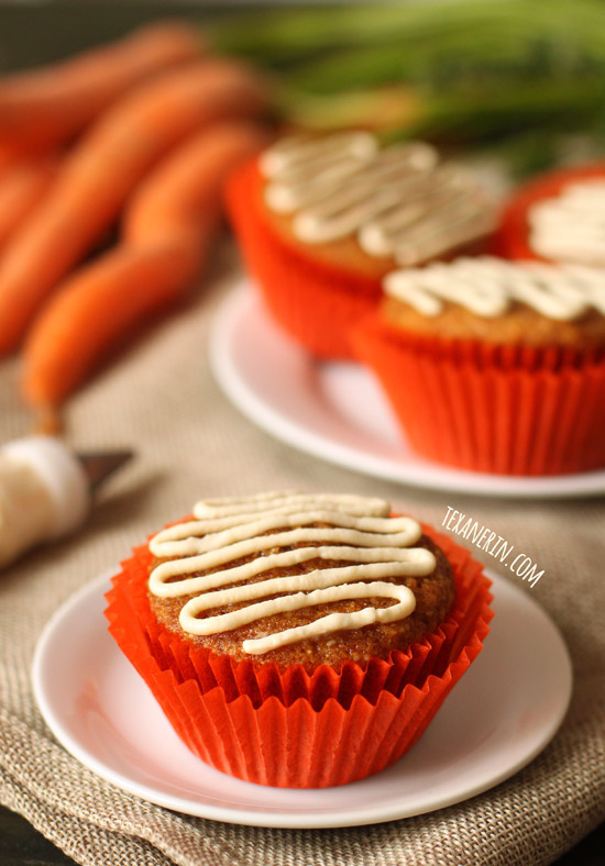 These gluten-free and grain-free carrot cake cupcakes have the best fluffy texture! With a dairy-free option. Naturally sweetened with honey.