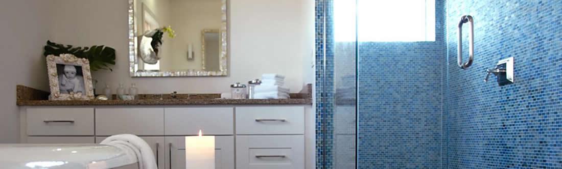 Beautiful Spring bathroom with frameless glass shower enclosure