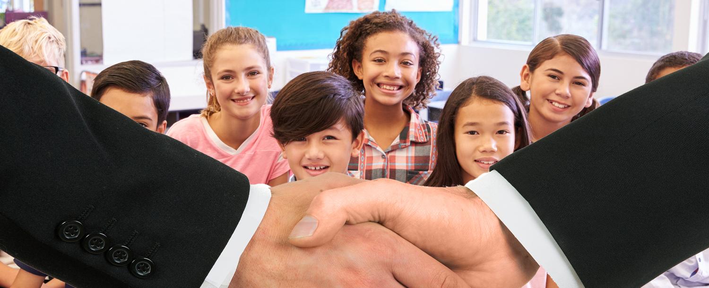 Hand Shake with Kids Smiling