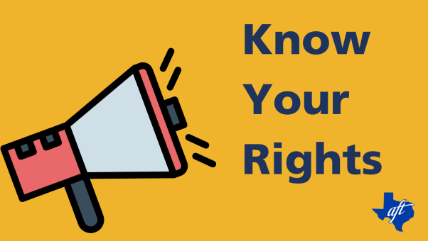 """Text says """"Know Your Rights"""" and appears next to an illustrated megaphone."""