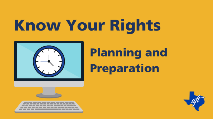 """Text says, """"Know Your Rights, Planning and Preparation"""""""