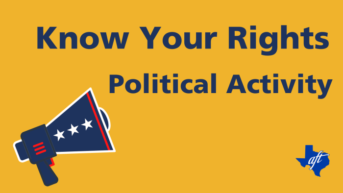 """Text says, """"Know Your Rights, Political Activity"""""""