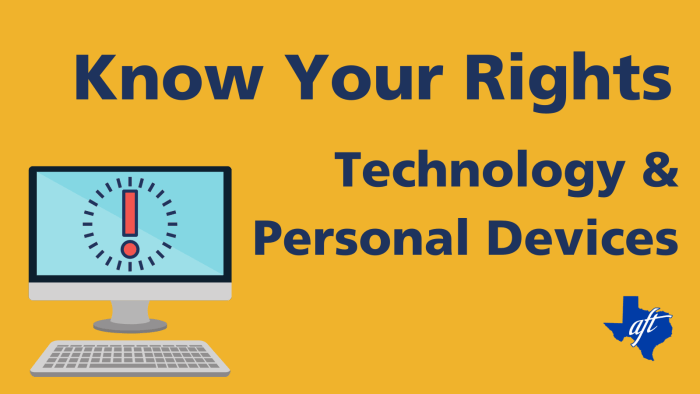 """Text says, """"Know Your Rights: Technology and Personal Devices"""""""