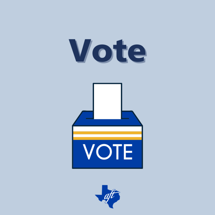 """Text says """"Vote."""" Illustration of a ballot box is below."""