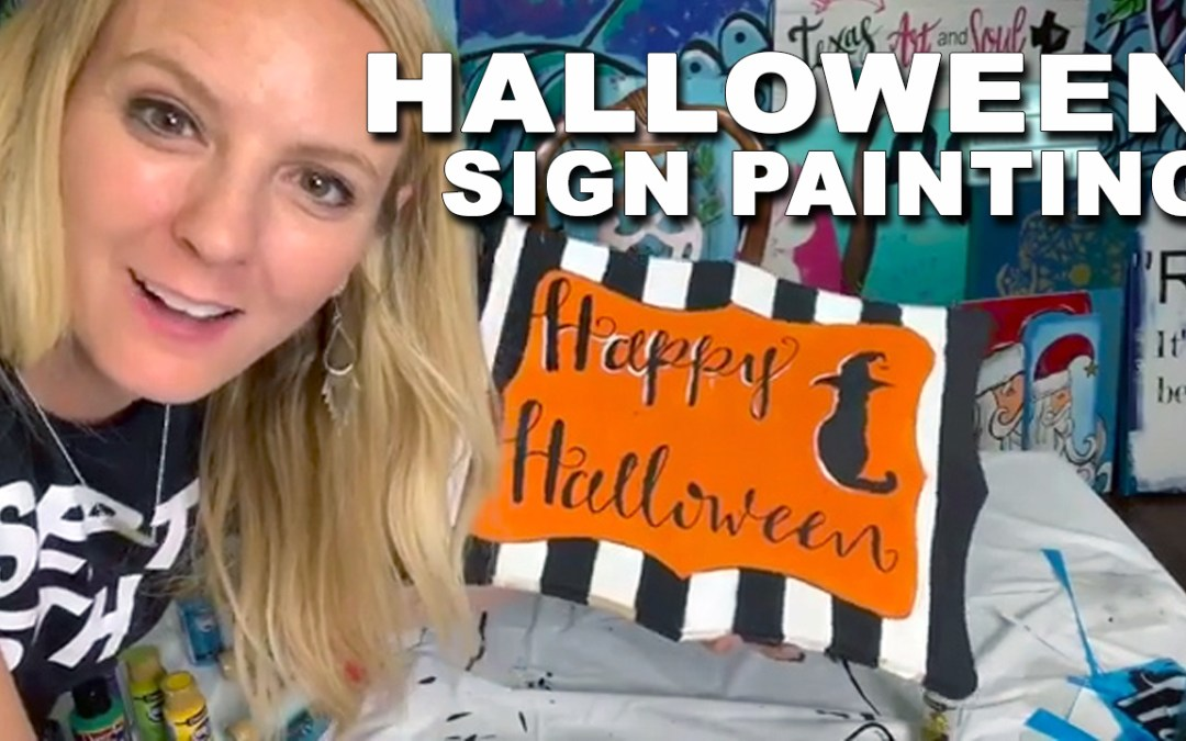 Easy Halloween Sign with Vinyl Stencil!