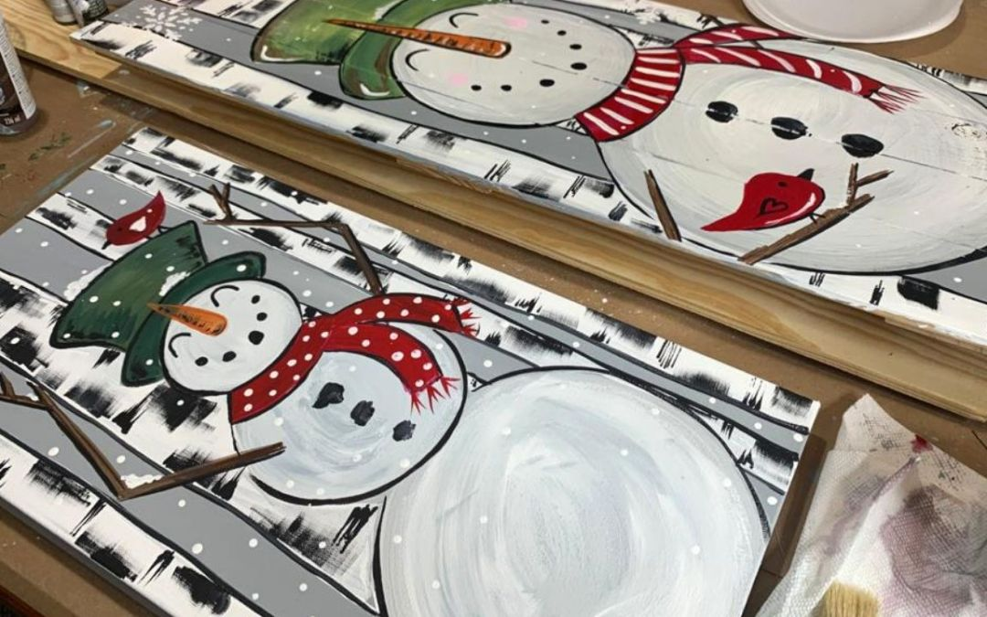 How To Paint Birch Trees With A Happy Snowman