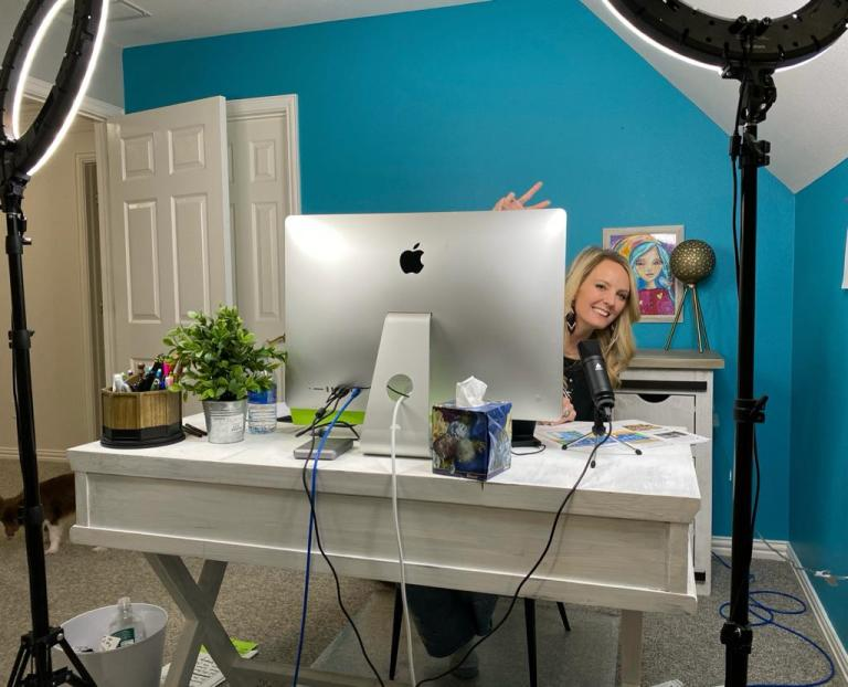 Heidi Easley working in her studio