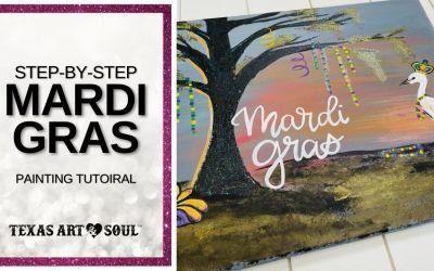 DIY Mardi Gras Landscape Painting