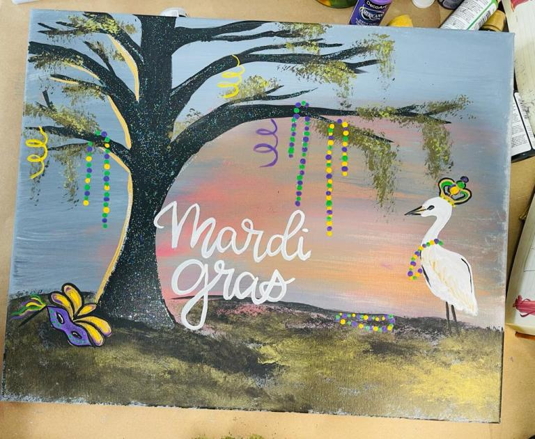 Mardi Gras landscape painting with bird, beads and Mardi Gras mask