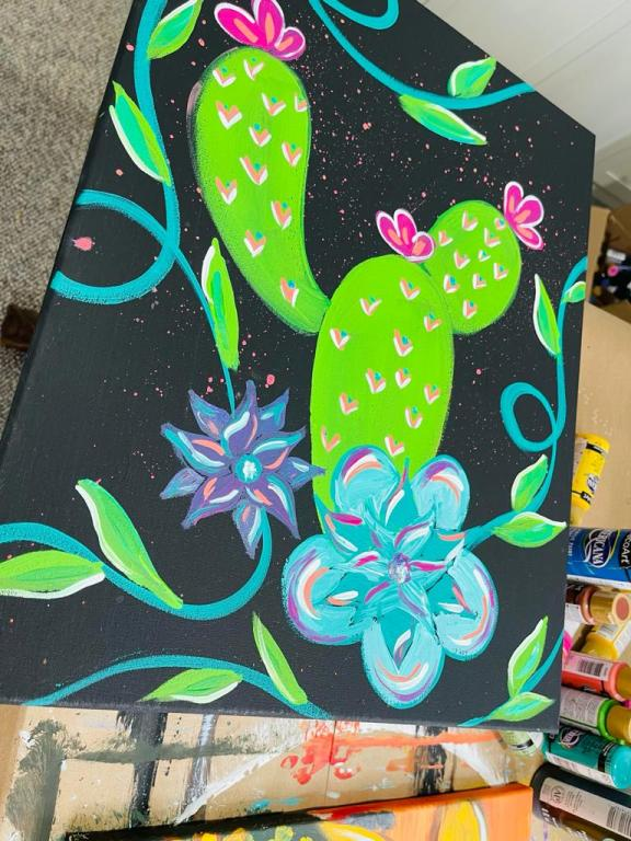acrylic painting of cactus