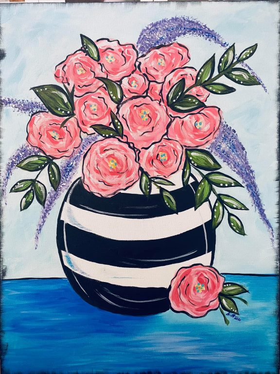 painting of pink and purple flowers in a black and white vase