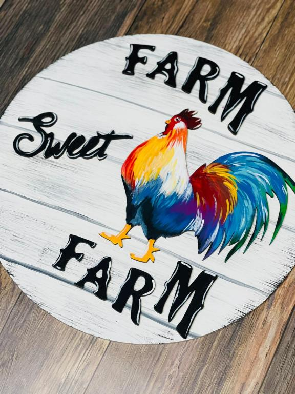 farm sweet farm door hanger with colorful rooster