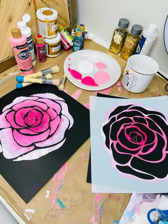 pink rose painted using stencils with stencils, paints and brushes