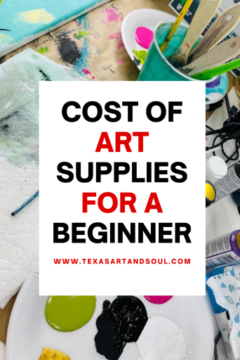 cost of art supplies for a beginner with image of acrylic paints and paint brushes