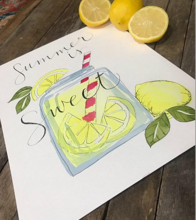 watercolor lemonade painting by Amanda Schmitt