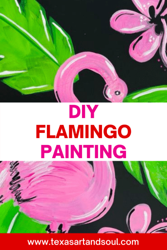 DIY flamingo painting with image of flamingo painting