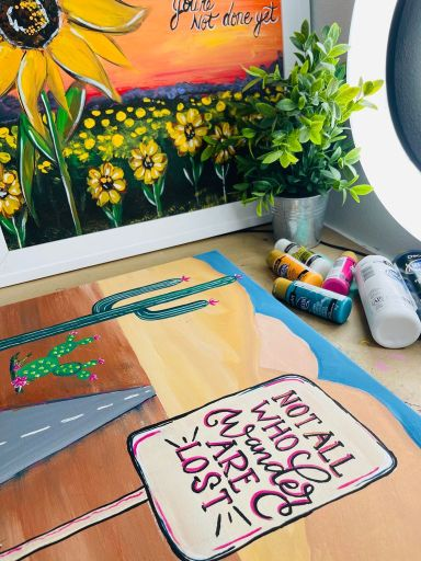not all who wander are lost desert scene painting and sunflower landscape painting