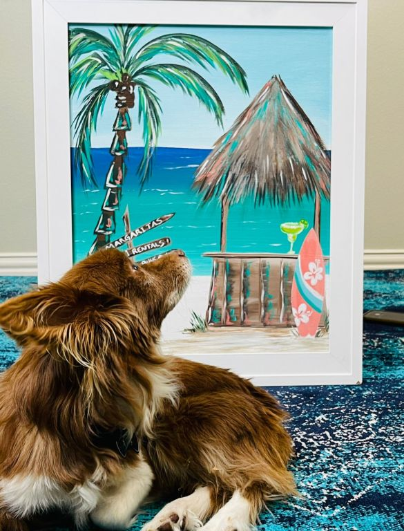 acrylic painting of a tiki hut on the beach by Heidi Easley with a dog