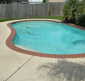 Poolside Concrete Resurfacing Before Image