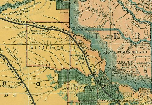 Wegefarth and Greer Ghost Counties TX 1876 RR Map