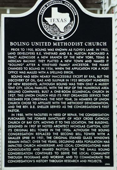 Boling United Methodist Church historical marker, Boling Texas