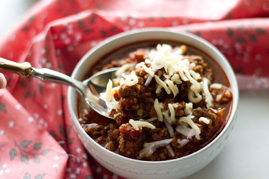 Bowl of Texas Style Venison Keto Chili
