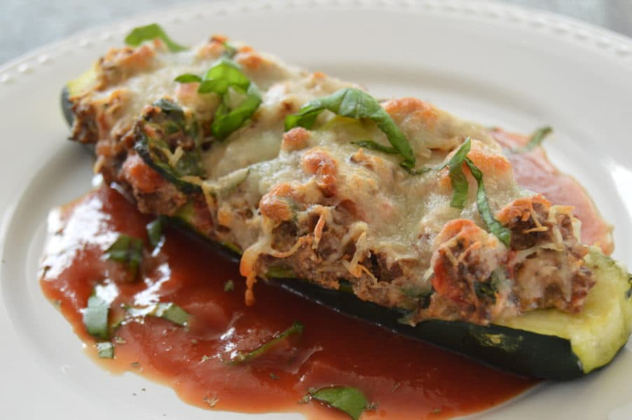 Ricotta Stuffed Zucchini satisfy every craving I have for lasagna without all the pasta getting in the way of that decadent, creamy cheese and meat filling.