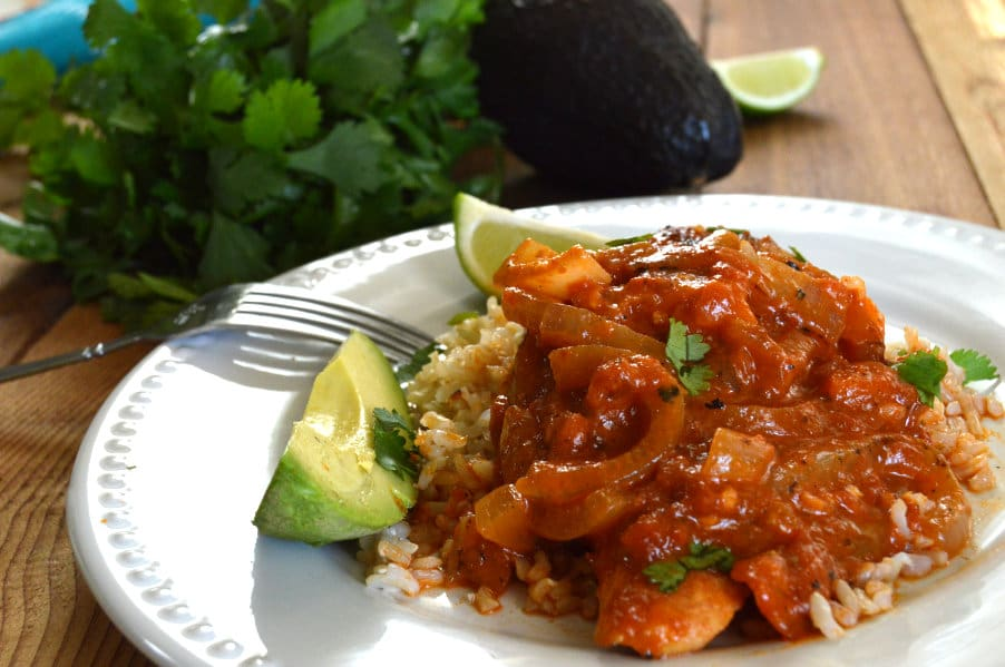 Chicken Ranchero with onions and peppers
