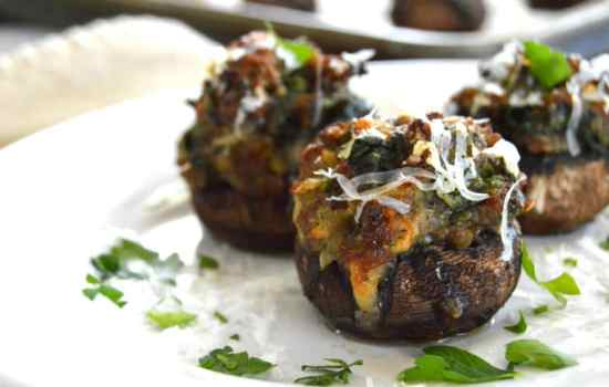Spinach & Sausage Stuffed Mushrooms