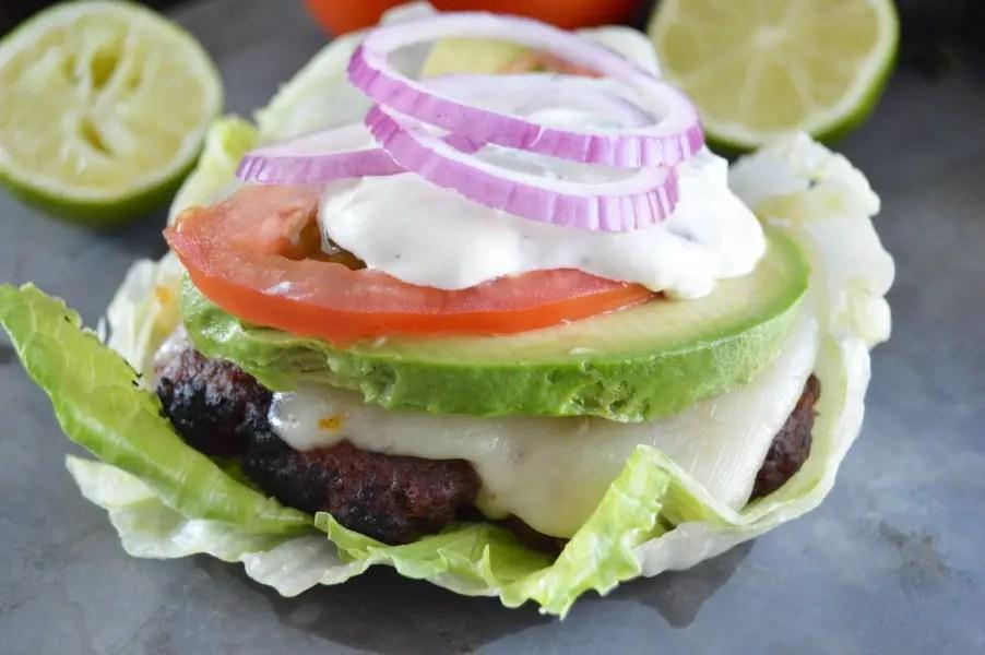 Loaded Chorizo Burgers on lettuce