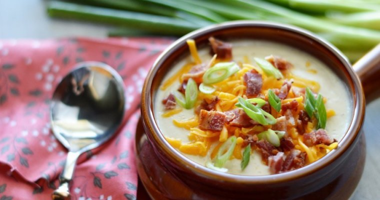 "Low Carb Loaded Baked ""Potato"" Soup"