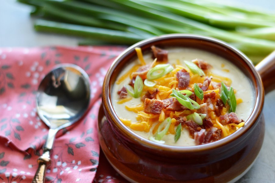 Velvety, Low Carb Loaded Baked Potato Soup 5