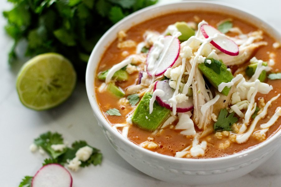 Mexican Tomato Soup with Toppings - Low Carb, Gluten Free