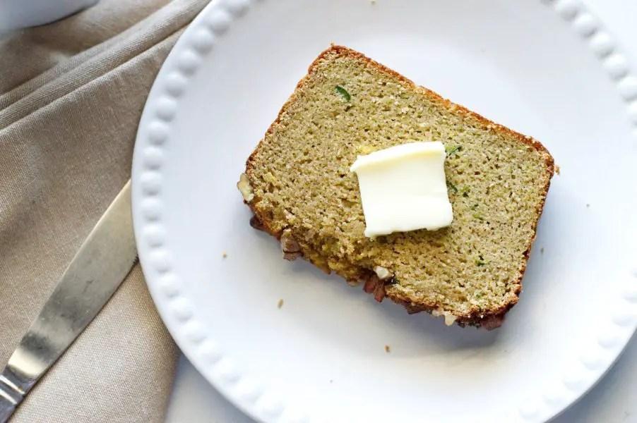 Low carb zucchini bread slice - keto, gluten free