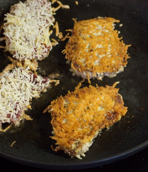 Browned Cutlets in Pan - Venison Parmesan