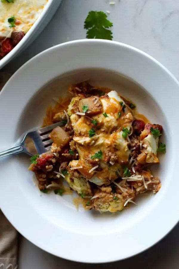 Cheesy Italian Sausage Casserole with Eggplant - Keto, Low Carb, Gluten Free