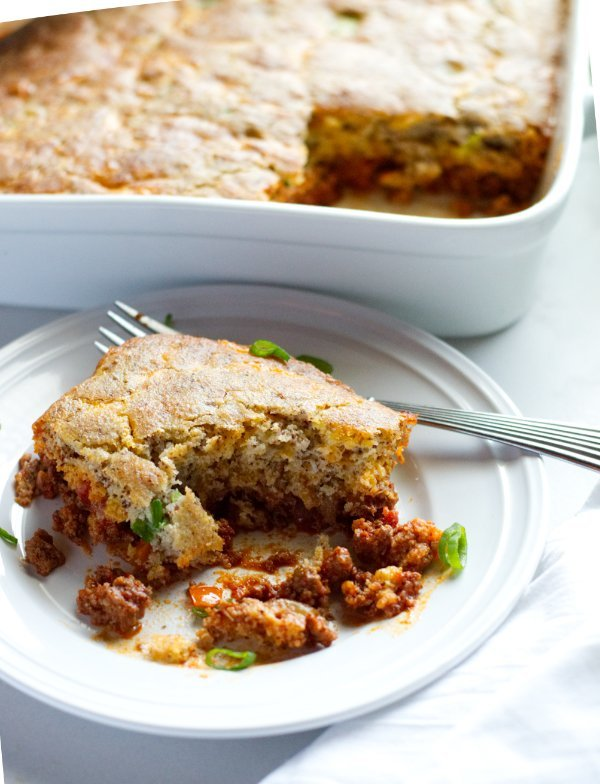 Low Carb Cornbread Casserole with Ground Venison - Gluten Free
