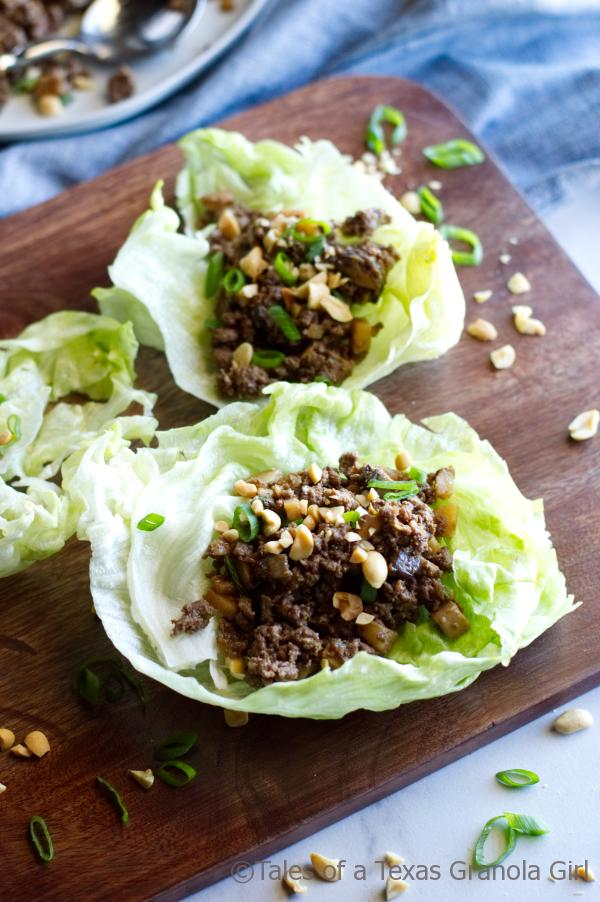 Ground Venison Lettuce Wraps garnished with peanuts- Low Carb, Keto, Dairy Free