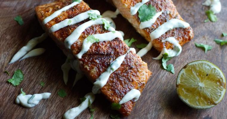 Grilled Salmon with Cilantro Lime Crema