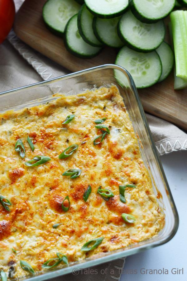 Poblano Artichoke Dip out of the oven