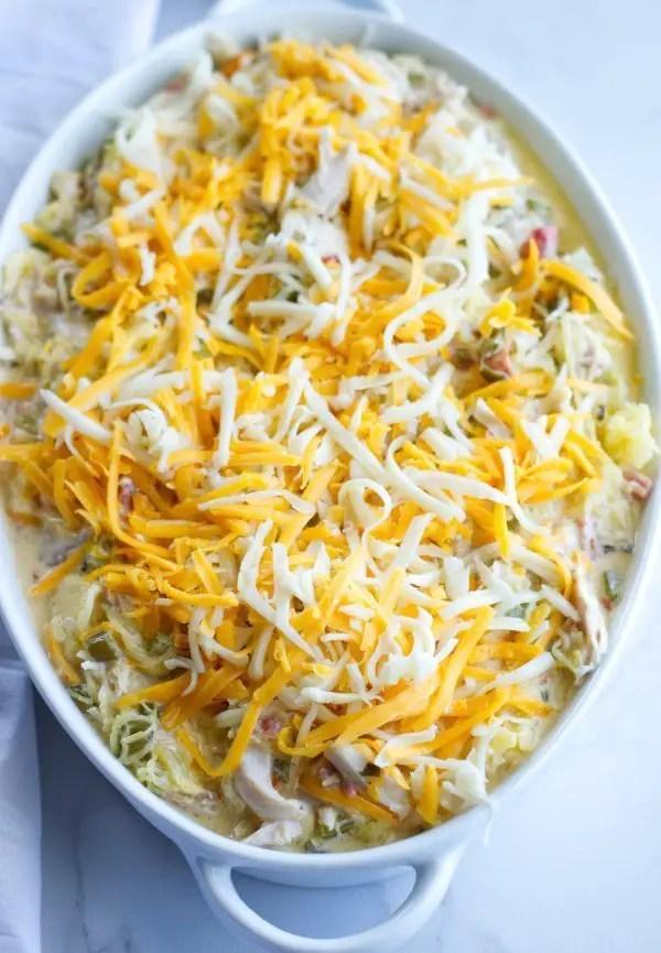 Chicken Spaghetti Casserole ready for the oven!