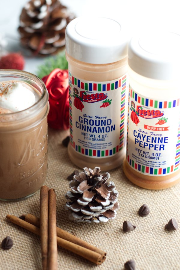 Containers of ground cinnamon and cayenne for chocolate eggnog
